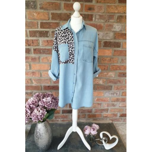 Denim Shirt With Animal Print Detail