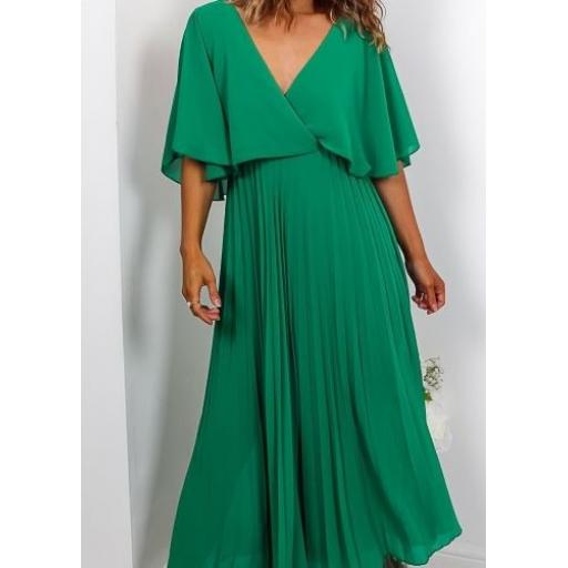 Green Pleated V Back Maxi Dress